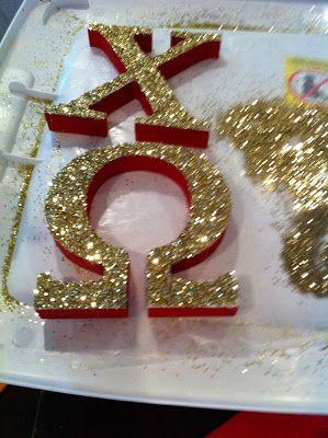 mollie's mom chi omega big/little reveal sorority craft glitter