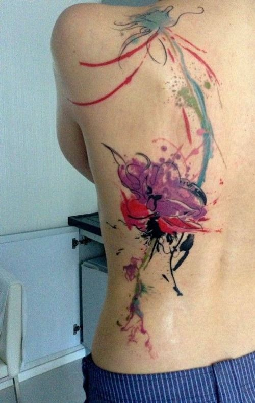 Awesome Watercolor Flower Tattoo Design