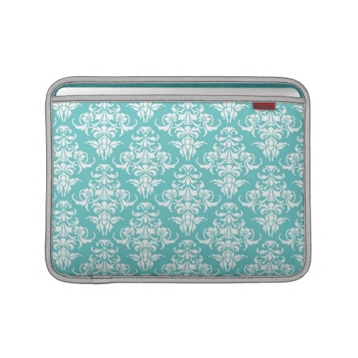 Blue damask pattern vintage girly chic chandelier sleeves for MacBook air