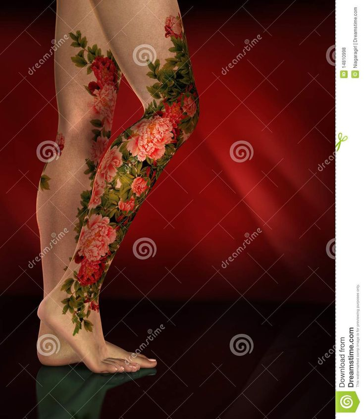 Tattoo 3d Leg Female legs red flower tattoos