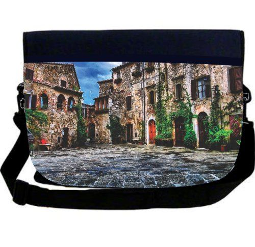 """Rikki KnightTM Italian Scenic Designs Neoprene Laptop Sleeve Bag  Rikki KnightTM Italian Scenic Designs Neoprene Laptop Sleeve Bag The Tuscany Village Scene NEOPRENE Laptop Sleeve Messenger Bag Can carry the latest ipad, notebook, laptop measuring up to 14"""" Disclaimer: All images are printed directly into the material - The Texture of the image will always be a flat surface. Any images that appears to be 3d, textured, or glittery are flat printed images and are proudly printed in the.."""