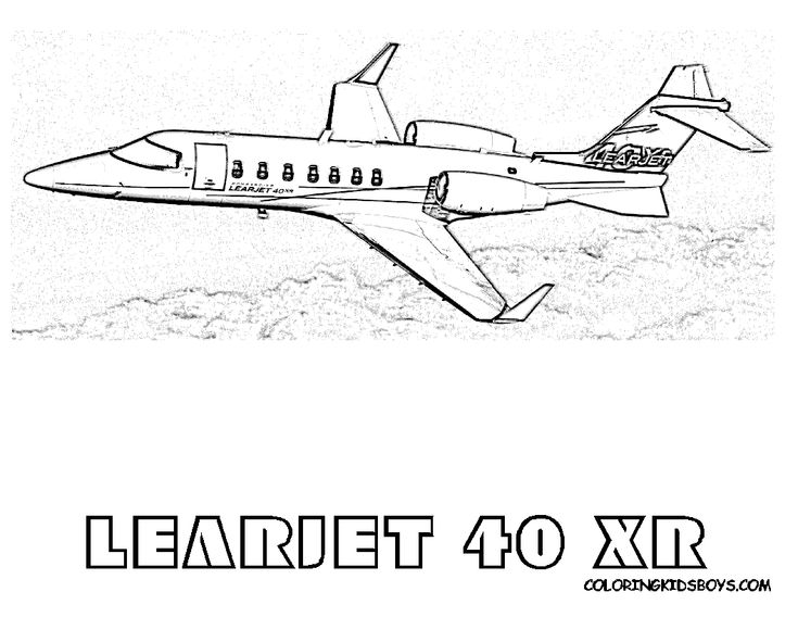 Cool Cool LearJet 40 XR Airplane Coloring Page. You Can