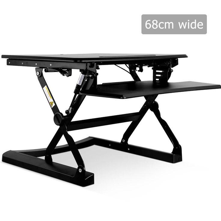 Height Adjustable Up Standing Computer Sit Riser Monitor Desk 60CM - Black