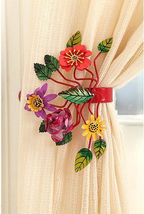 Floral tie backs for curtains or drapes. Very colorful for bright room, bedroom, #Mexican or Caribbean style