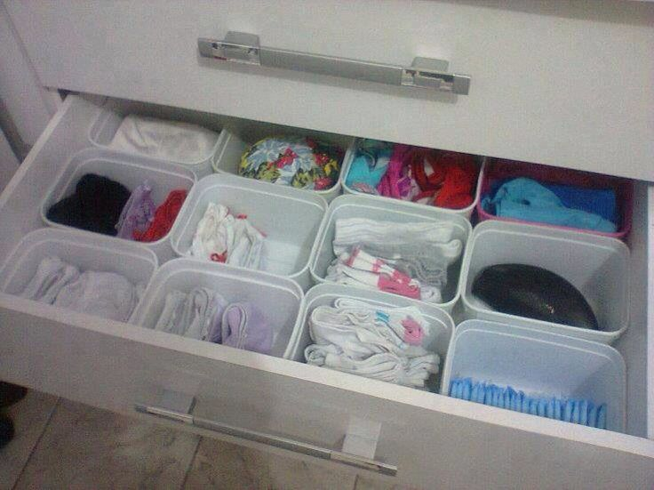 Organize Your Drawer W/empty Baby Wipes Plastic Boxes