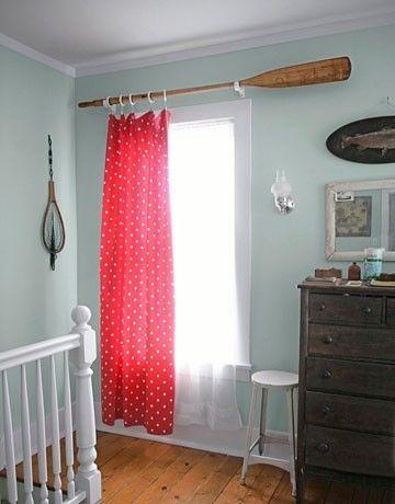 Neat curtain rod- oar for nautical themed room. Me like.
