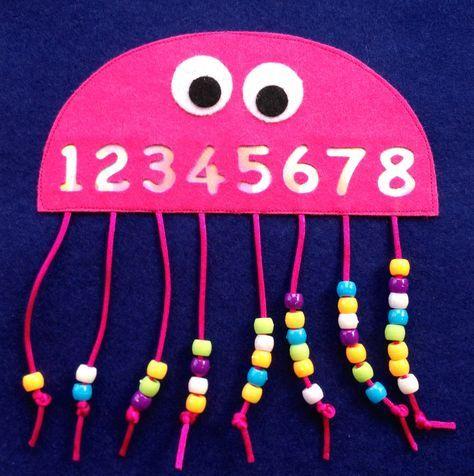 Mathe, zählen, Zahlen, Oktopus, Krake, Perlen an Schnüre, Faden, Wolle, Klasse 1, Vorschule – Ingrid K.