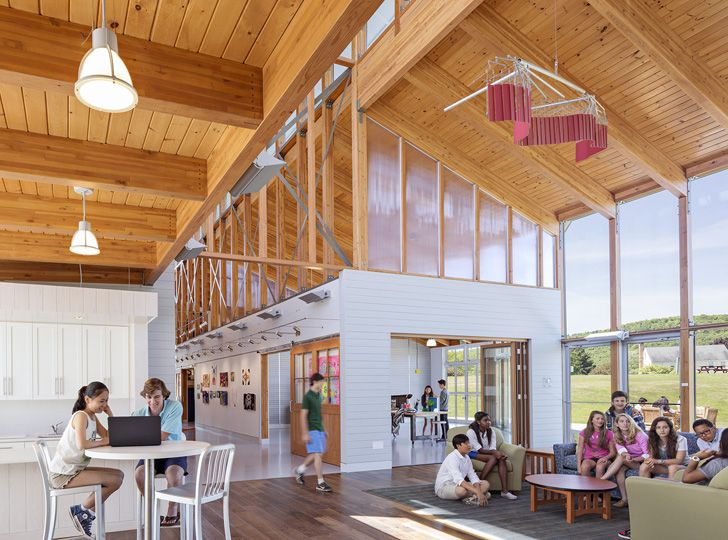 Indian Mountain Student Arts & Innovation Center in Lakeville, Connecticut | Flansburgh Architects. Multi-functional space combinging art, music, gathering and fab-lab.