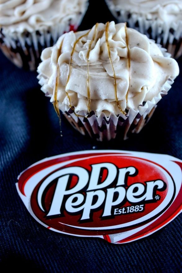 Dr. Pepper Cupcakes    1 box of chocolate cake mix  1/2 cup of melted butter  3 eggs  1 cup of Dr. Pepper    Pour the batter into cupcake liners and bake at 350°F for 12 minutes. Then you can get started on the icing – where things really start to get interesting. This icing recipe also doesn't have overly specific measurements, so it's a da