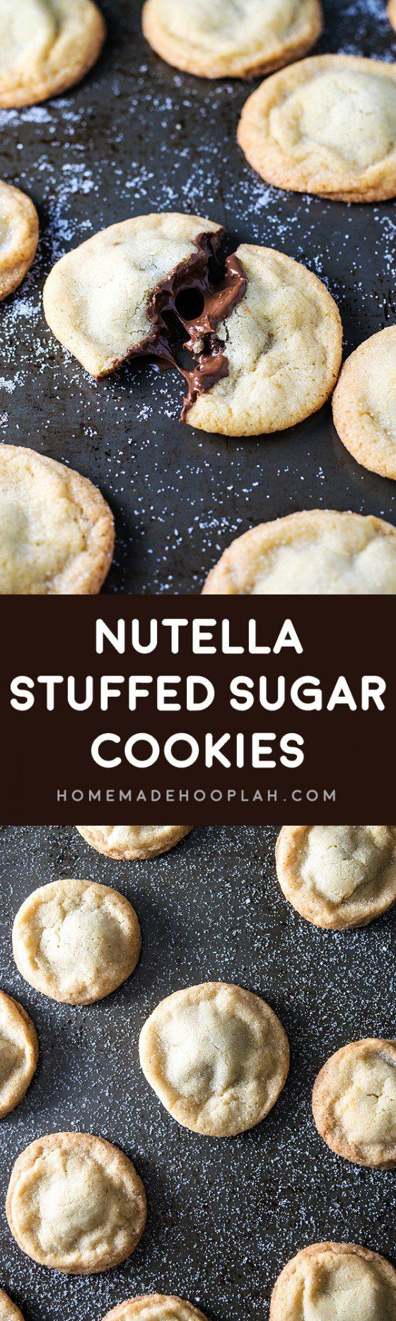Nutella Stuffed Sugar Cookies! Old fashioned soft and chewy sugar cookies stuffed with creamy Nutella. These Nutella cookies are delicious as they sounds! | HomemadeHooplah.com