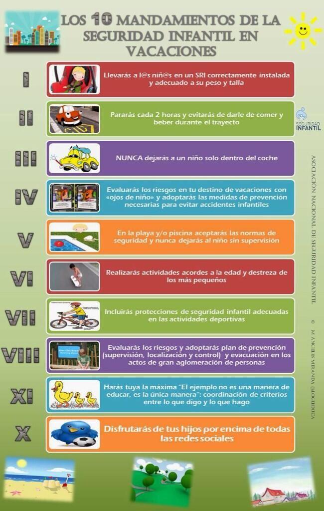 RT @Salud_JCYL:  10 mandamientos de la seguridad infantil en vacaciones. De @Pekeseguro http://ow.ly/i/5pj3t y pic.twitter.com/VXm9LO2f8j