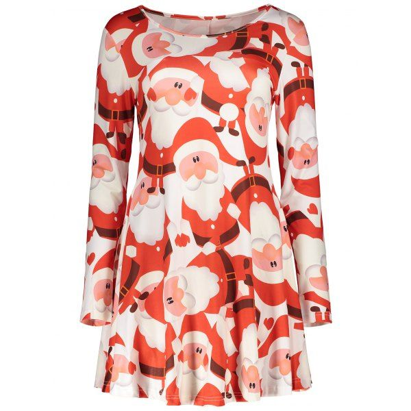 $16.05 Stylish Round Neck Long Sleeves Father Christmas Print Dress - Red