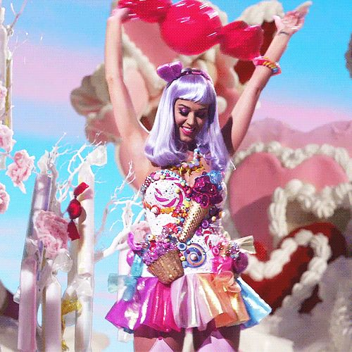Katy Perry Candy Girl Costume from our Katy Perry Halloween Costumes post at https://www.merchbar.com/blog/2015/09/22/hot-katy-perry-costumes-you-can-buy-or-make-for-halloween-2015/