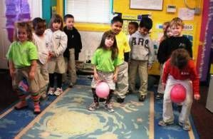 Classroom Christmas Party Ideas- Penguin waddle relay race game