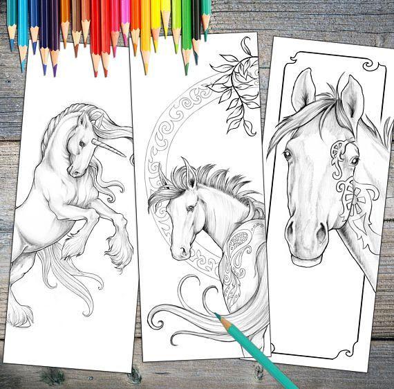 instant download bookmark coloring horse designs