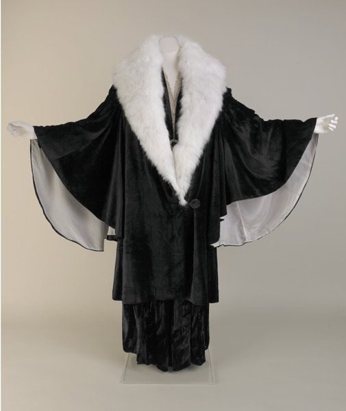 Evening coat, silk velvet and angora rabbit fur, about 1930-36. From the 'Mrs Tinne's Wardrobe, A Liverpool Lady's Clothes, 1910-1940' display. http://www.liverpoolmuseums.org.uk/walker/exhibitions/tinne/: Coats 1930 36, 1930S, Costume, Coats And Jackets, 1930 Coats