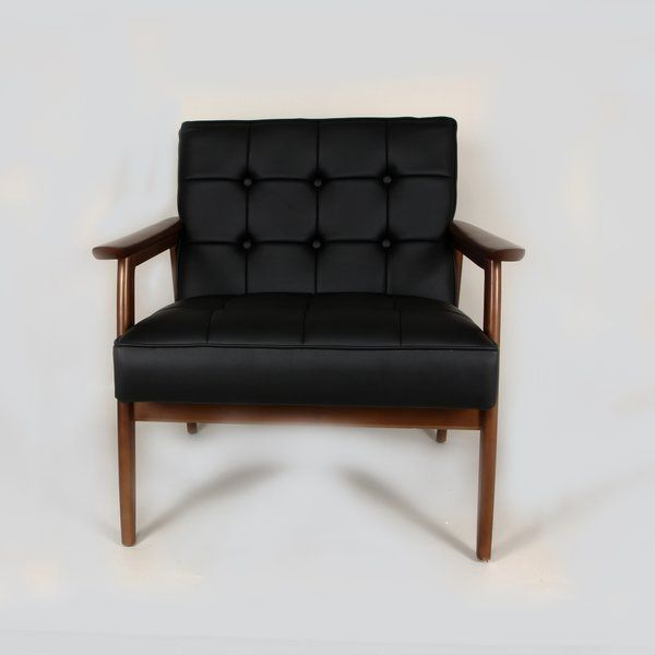 Arm chair in ash wood walnut finish with tufted seat and back made from black PU material.