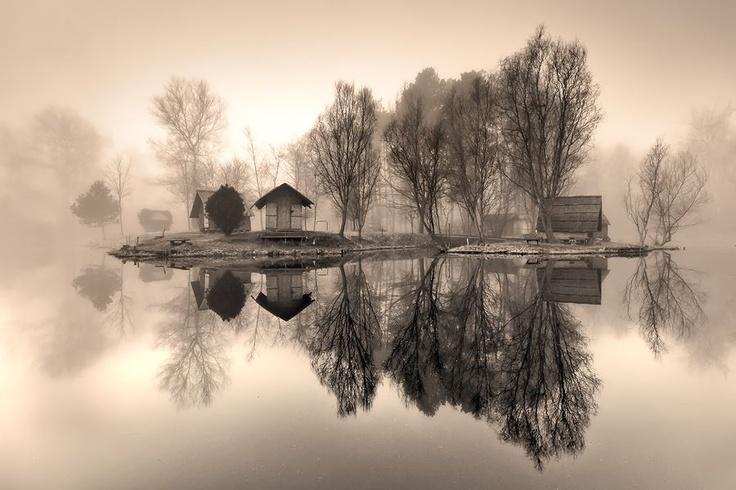 Misty Lake Reflection, Hungary
