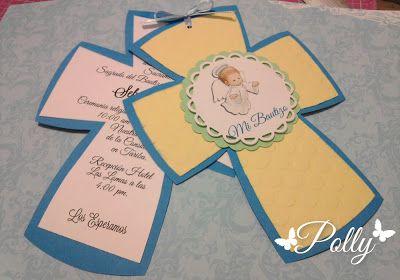 Manualidades Polly: Bautizo en azul, verde y amarillo