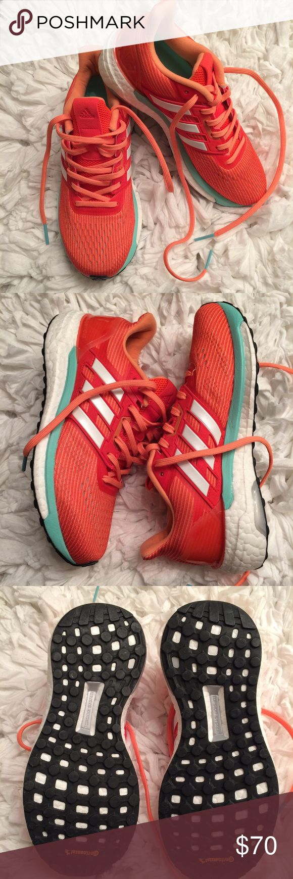 Adidas SuperNova Boost (Endless Energy) These shoes are bright, well cushioned and comfortable! This very popular shoe is the epitome of comfortable which means that they will be suitable for your workout as well as daily errands! These shoes are in excellent condition. adidas Shoes Sneakers