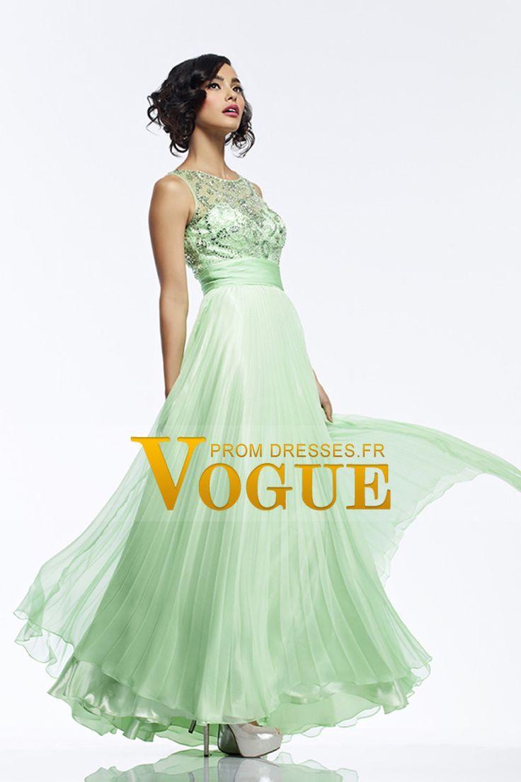 2015 Scoop Tulle perlé corsage une ligne robe de bal avec mousseline de soie plissée Jupe € 179.11 VGFPT35CSB1 - VoguePromDresses.fr for mobile