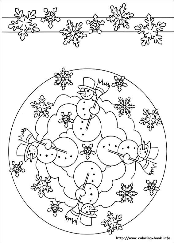 ☮ American Hippie Art ~ Coloring Pages .. Mandala Snowmen
