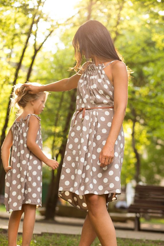 Mother-Daughter matching Dots dresses by MiniMaxiUrbanStyle Matching outfits ~Like Mother Like Daughter.....I've got to do this with my Baby Girl!