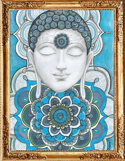 Arte de la pared de Buddha pintura de Mandalas del por DHANAdesign