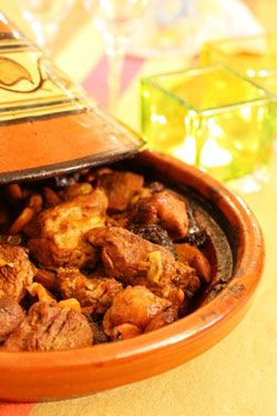 """The """"tajine"""" (or """"tagine"""" is both the word for the dish (as a main course) and for the clay pot that is used in North Africa for cooking the dish. here a recipe for Lamb Tajine!"""