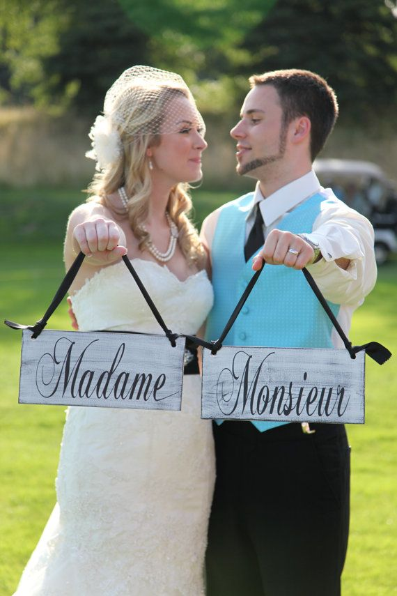 Wedding Chair Signs Madame and Monsieur with Thank you on the back. Vintage Paint, 2-sided, Rustic Wedding Signs, Wedding Photo Props.