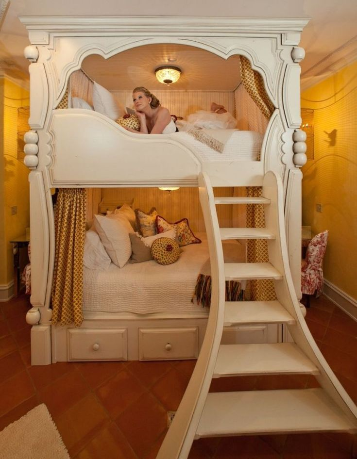 Traditional bunk bed with stairs