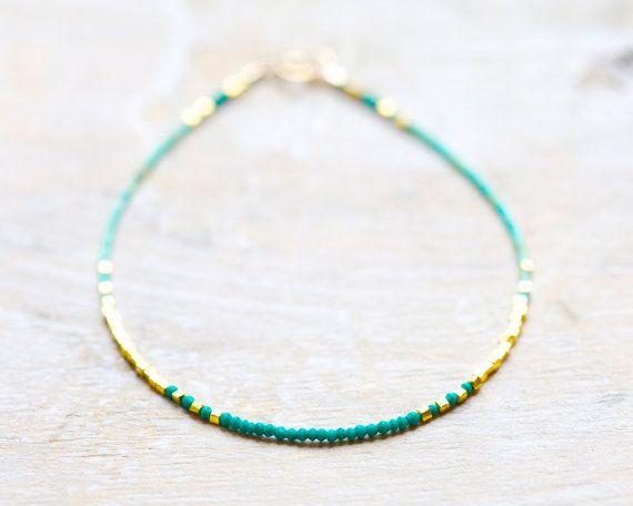 Malachite et turquoise bracelet mince en or bijoux par Filoe, $45.00