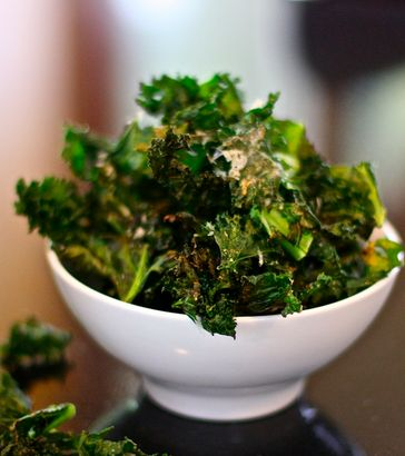 [8]     Baked Kale Chips.  For a healthy snack, VERY GOOD!