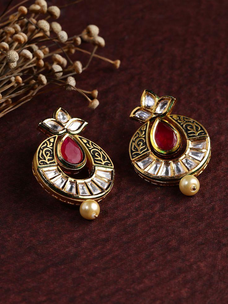 DHRUVI Gold-Toned & Red Kundan Drop Earrings