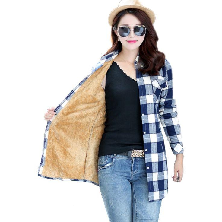 Women Velvet Thick Warm Plaid Shirt Female Full Tops Winter Long Checkered Blouse Blusas Femininas Chemise Femme M-XXL HS1589