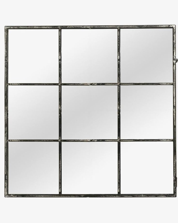 BLACK WINDOW PANE WALL MIRROR W:118CM, SQUARE, 9 PANE, METAL, LARGE