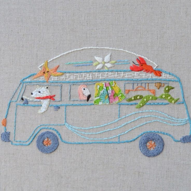 Wave Goodbye -- What could be more fun than embroidering a bunch of animals in a VW van
