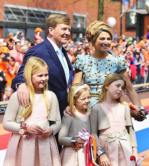 King Willem-Alexander celebrates his firs Kroningsdag with his family. Queen Maxima, Princess Catharina-Amalia, the Princess of Orange, Princess Alexia and Princess Ariane 4/26/2014