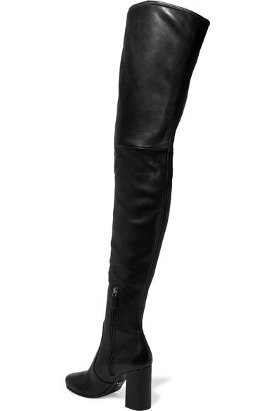 Prada - Leather Over-the-knee Boots - Black - IT39.5
