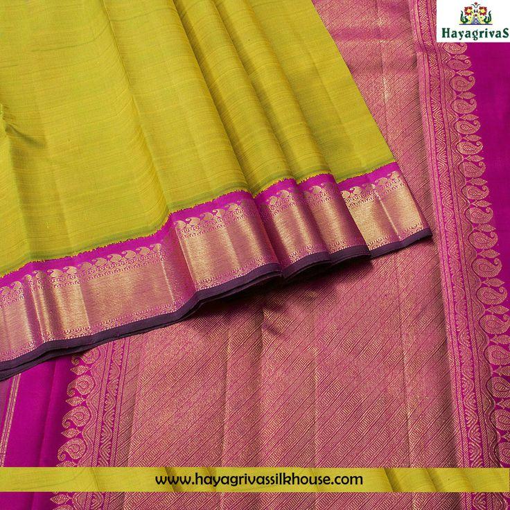 Mustard Green #traditional #Korvai border silk sari at #Hayagrivas silkhouse. The silk saree has the plain mustard color on the body with pink korvai jari border, pallu and blouse.  #Silksarees #Weddingsilks #Margazhispecial #Traditionalsilks Visit us: https://www.hayagrivassilkhouse.com/saris/2391.html Call us: 91 9840582892