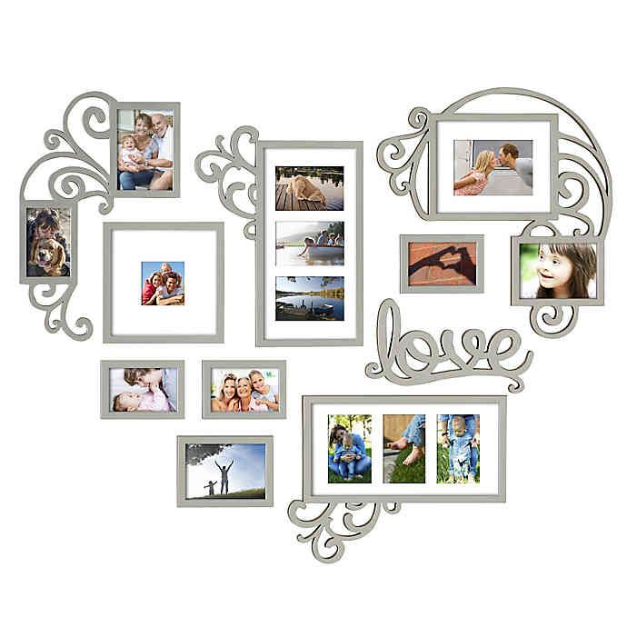 Wallverbs 10 Piece Heart Love Scroll Photo Frame Set In Silver Multiple Picture Frame Picture Frame Display Collage Picture Frames