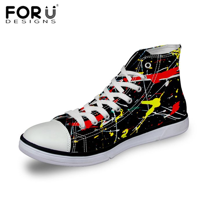 FORUDESIGNS Black Canvas Shoes for Women High Top Lace-UP Breathable Casual Shoes Graffiti Print All Star Canvas Shoes Chaussure