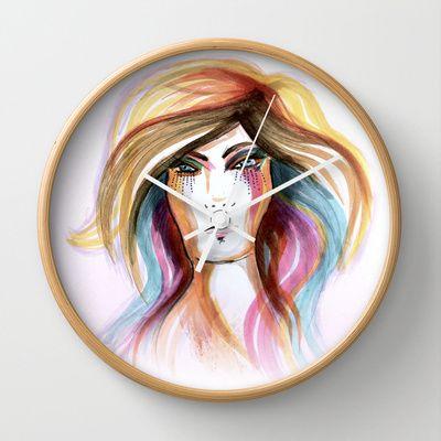 Layla Wall Clock by clickybird - Belinda Gillies - $30.00