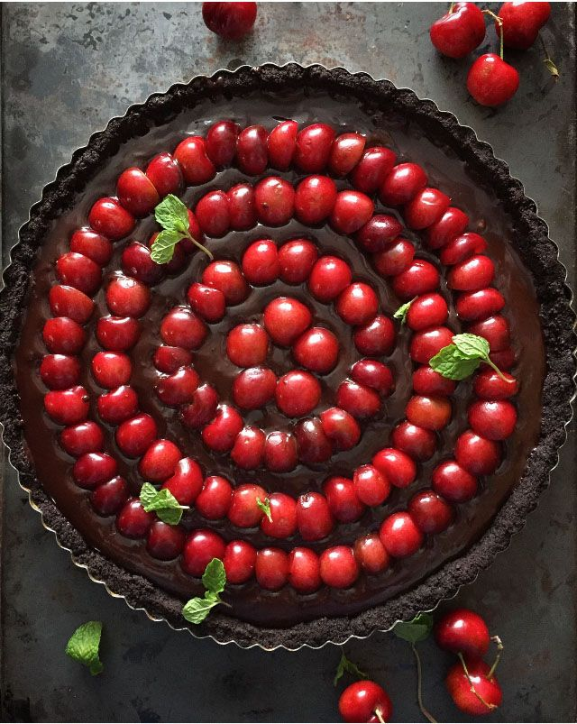 Double Chocolate and Red Cherry No Bake Tart | Dimity Jones
