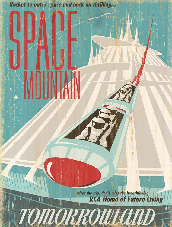 Vintage Disney Space Mountain Attraction Poster // Wall Art // Nursery // Kids Room // House Warming