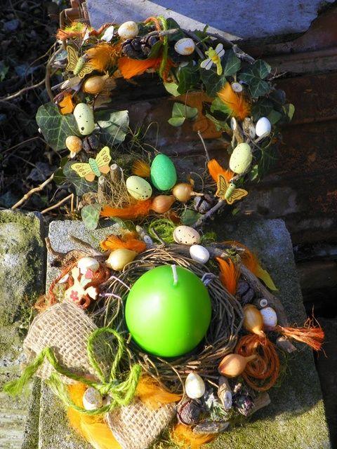 Húsvéti,tavaszi ajtódísz,koszorú,asztaldísz lakásdekoráció szett (galamb70) - Meska.hu