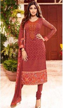 Shilpa Shetty Slate Brick Red Color Georgette Straight Cut Salwar Kameez   FH496476054 #heenastyle , #salwar , #kameez , #suits , #anarkali , #party, #wear , #panjabi , #patiyala , #abaya , #style , #indian , #fashion , #designer , #bridel , #evening , #formal , #office , #deaily , #dupatta , #churidar , #palazo , #plazzo , #nerrow , #pant , #dress , #dresses , #fashion , #boutique , #mode , #henna , @heenastyle , #latest , #gowns , #pakistani , #readymade , #stitched , #plus , #size…