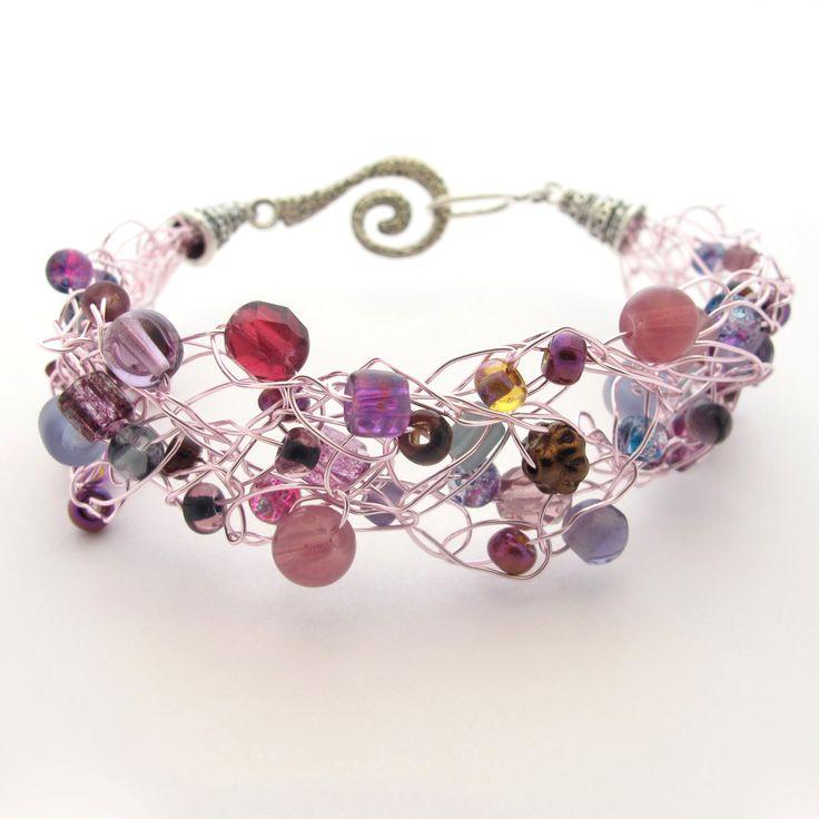 Crochet Wire Beaded Bracelet, Purple & Pastel Pink. $20.00, via Etsy.