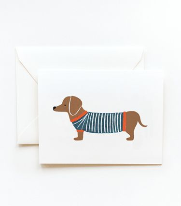I absolutely love Weiner Dogs and one with a sweater on is just icing on the cake. (From Rifle Paper Co.)