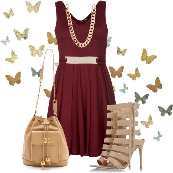 """""""burgundy skater dress outfit idea"""" things to wear"""